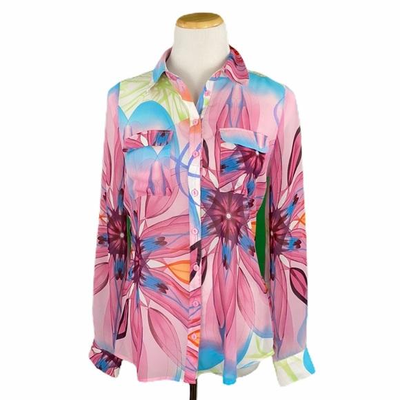 BCBGMaxAzria Sheer Floral Print Long Sleeve Blouse